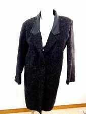 HUNTERS RUN WOMENS BLACK WOOL LEATHER TRIMMED COAT SIZE JUNIORS 7