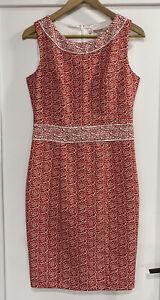 REVIEW Floral Pencil Dress Sz 8 Red White Excellent Condition.