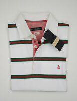 Polo Bramante Slim Fit in Cotone Bianca a righe Rosso e Verde Taglia S Saldi