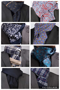 BLUE CASHMERE & SILK ITALIAN DESIGNER DOUBLE SIDED SCARF Various Patterns