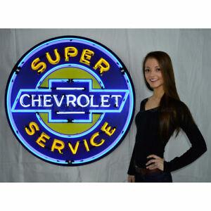 "CHEVROLET SUPER SERVICE 36"" NEON SIGN - NEON SIGN - BRAND NEW - CAR/AUTOS"