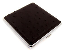 Cigarette Case -- Mysmokingshop Black Design Leather Chrome King Size - NEW kst1