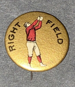 "ANTIQUE BASEBALL 1890's ""RIGHT FIELD""~3/4"" PLAYER PIN~WINDRATH/BASTIAN INSERT BK"