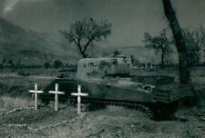 WWII Photo M4 Sherman Tanks Fallen Crew Graves  World War Two WW2 B&W / 3092