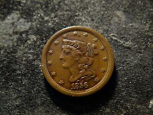 1856  XF Sharp Coronet Braided Hair Half Cent  KKA