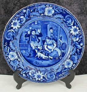 """Staffordshire Blue Transferware Escape of the Mouse 10 1/4"""" Pearlware Plate"""