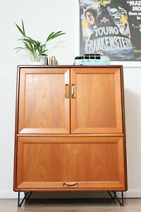 Vintage Retro G Plan Sideboard Media Unit Cabinet Teak Hairpin legs Mid century