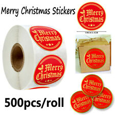 Round 500pcs Merry Christmas Stickers Gifts Packaging Sealing Labels Xmas De ^P