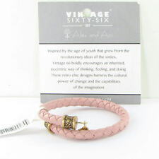Alex and Ani Braided Leather Wrap Begonia Expandable Bracelet Russian Gold NWT