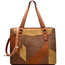 Madison West® Large, Leather Suede Patchwork Tote in Golden Tan