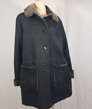 Long Tall Sally Black Grey Coat Size 12 Thick Heavy Fleece Lined Winter Warm