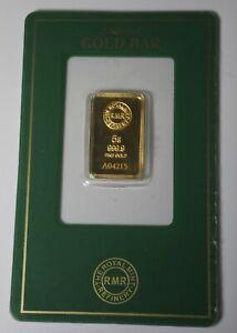 5g Gold Bar Royal Mint in assay card