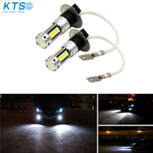 Pair H3 6000K White LED Fog Driving Light Bulbs Conversion Kit Super Bright DRL