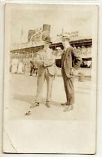 Rare 1916 men at Chicago Municipal (Navy) Pier real photo postcard RPPC, history