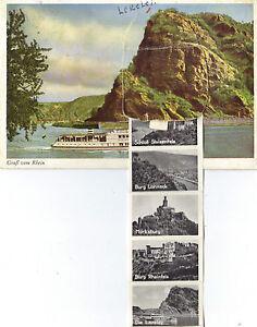 Schiff, Rhein-Dampfer Rüdesheim, Loreley, Rucksackkarte, Bilderfahne, Leporello