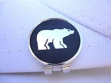 2 Chrome Polar Bear Metal Golf Ball Markers W/ Magnetic Hat & Visor Clip