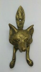 Antique Vintage Style SOLID BRASS FOX Head DOOR KNOCKER Hardware