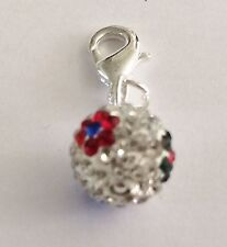 SHAMBALLA PAVE CRYSTAL CLEAR + FLOWERS 10mm BALL CLIP ON CHARM - CZECH CRYSTALS