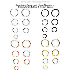 Fake Body Piercing Continuous Daith Ring Cartilage Nose Septum Surgical Steel UK