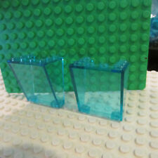 Lego lot 2 Windscreen 3 x 4 x 4 Inverted Clear Lt Blue 3182 Airport Tower 4514