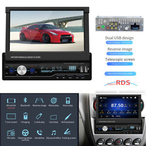 """1 Din 7"""" Android GPS Flip Car Stereo Radio MP5 Player Touch Screen USB Dash Unit"""