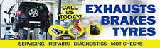 6FT X 2FT GARAGE BANNER EXHAUSTS TYRES *ADVERTISE Tools Oil Spanners Workshop*