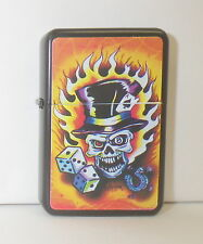 Lighter Eight Ball Skull, Skull on Fire Lighter by STAR