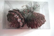 2 Copper Brown 5 In Pine Cone Shatter Resistant Christmas Ornament Decorations
