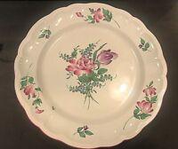 "Vintage France Strasbourg Flowers Faience Luneville Platter 16""  Fair Condition"