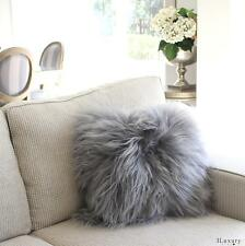 "ICELANDIC SHEEPSKIN LONG HAIR SHAGGY FUR CUSHION  PILLOW  GREY 40cm  16"" insert"