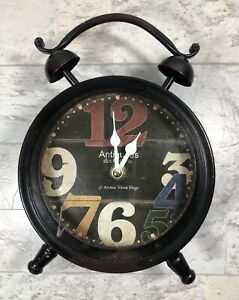 Metal Round Table Clock Antiquites Mantle Chic Decor Cottage Home Accent Battery