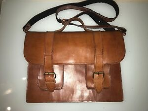 Vintage Handmade Messenger Briefcase Laptop Case Brown Leather
