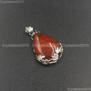 Natural Gemstones Inlaid Flower Teardrop Drop Reiki Chakra Healing Pendant Beads