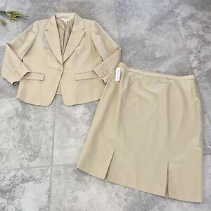 Pendleton Suit Jacket Skirt SZ 18 Plus  Beige 100% Virgin Wool Lined Zip Career