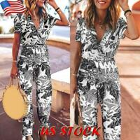 Women Short Sleeve Jumpsuit Casual Leaf Print Romper Trousers V Neck Playsuit US