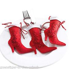 6 x Besteckhalter  rote Stiefel für Weihnachten Weichnachtsdeko Tischdeko Deko