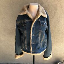 Classic Denim Jeans Jacket with faux fur trim quilted lining medium