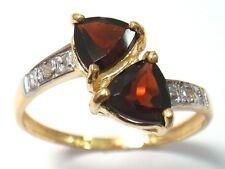 NICE! 10KT YELLOW GOLD 2 STONES GARNET & DIAMOND RING  SIZE 7  R1298