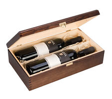 Double Bottle, Wooden Luxury Gift Box for Wine, Champagne or Whisky (Brown)