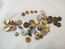 Vintage 40 metal & plastic Buttons golds silvers greys