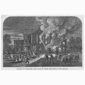 ST ASAPH the Burning of Pengwern Hall - Antique Print 1864
