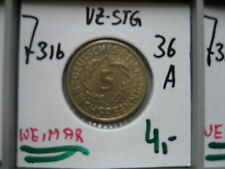 J316  5 Reichspfennig 1936 A in VZ-STG