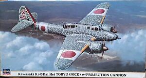 1/48 HasegawaKawasaki ki45  Toryu Nick w/Projection Cannon 30mm BUILDER KIT OOP