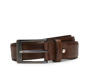 Dress full grain belt on brown vegan leather square frame buckle single tapered