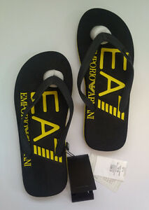 Genuine ARMANI EA7 Sea World U Flip Flop Beachwear Thong Sandal Black/Yellow