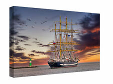 Tall Ship and Lighthouse at Sunset Seascape Canvas Print Wall Art Picture