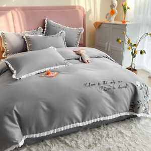 Summer PrincessStyle Small Fresh  Embroidery Bedding Cover Bed Sheet Bedding Set