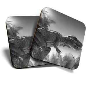 2 x Coasters (BW) - Tyrannosaurus Rex Dinosaur Jurassic  #41199