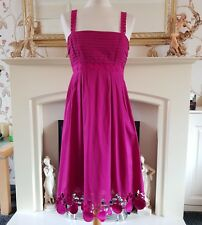 Pink Cotton Strappy Dress Size 10 / 12 Pretty Detailing