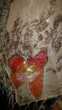 """100% SILK, SEQUINS & FRINGED, BUTTERFLY SQUARE SCARF 37"""" X 37"""""""
